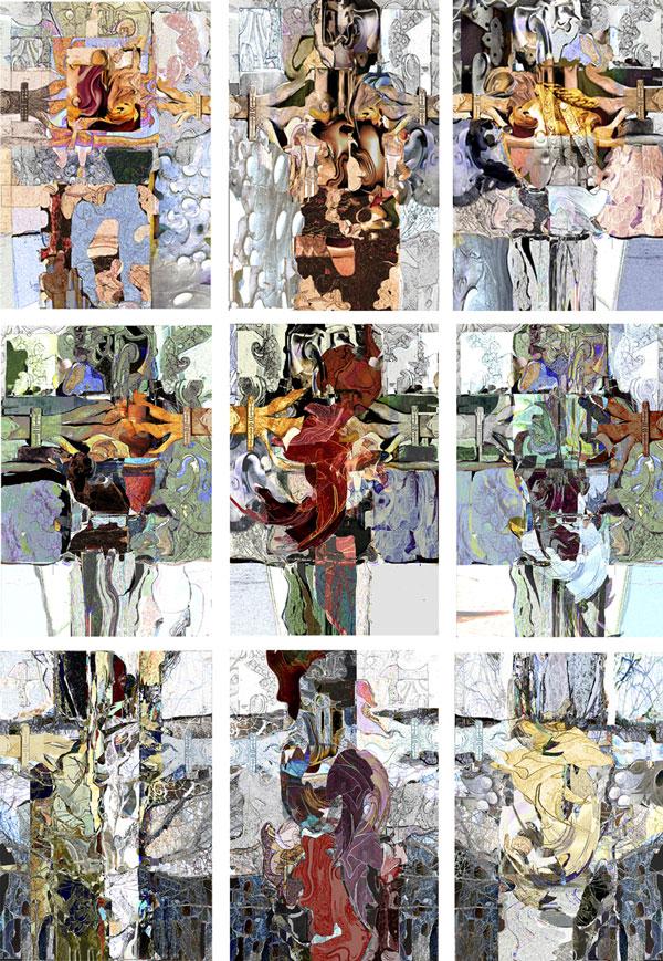 """Abb 01 """"Von Bild zu Bild"""" 2011 neun Digitaldrucke auf Acryl (ca 180 x 130 cm)"""